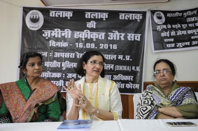 Bhopal, India - Sept. 17, 2016: Founder of Bhartiya Muslim Mahila Andolan - Zakia Sonam addressing a press conference on Muslim women demanding legal abolition of triple talaq in Bhopal, India, on Saturday, September 17, 2016. Co-founder Noorjehan Safia Niaz and state convener Safia Akhtar accompanied too. (Photo by Mujeeb Faruqui/ Hindustan Times)(Mujeeb Faruqui/HT PHOTO)