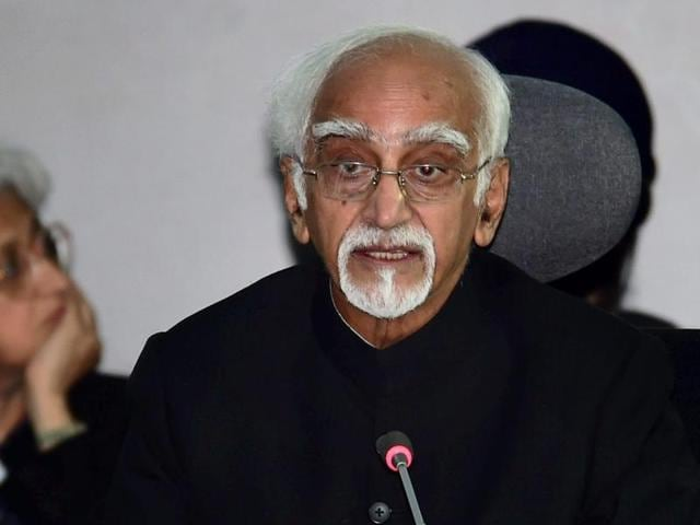 Vice-president M Hamid Ansari (right) speaks as minister of state for foriegn affairs MJ Akbar looks on at the 17th Summit of the Non Aligned Movement (NAM) at Margarita Island in Venezuela on Saturday.