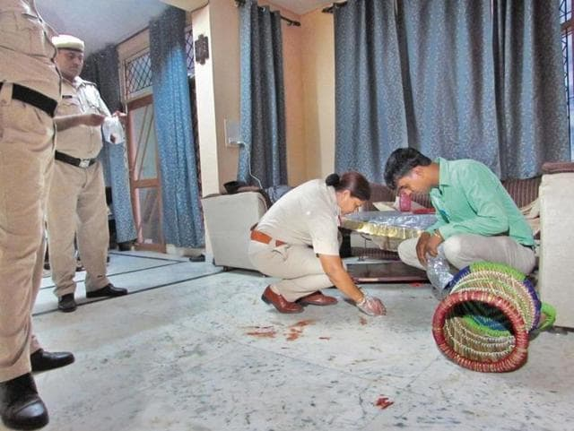 The woman, Jaya Rani, was strangulated to death by robbers on Wednesday when she was alone in the house. Her body had 10 injuries of a sharp-edged weapon, indicating that she resisted more than one attacker.