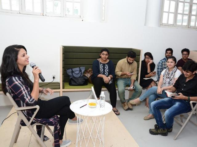 AuthorSavi Sharma interacts with her readers in the Capital during a promotional tour of her debut book.