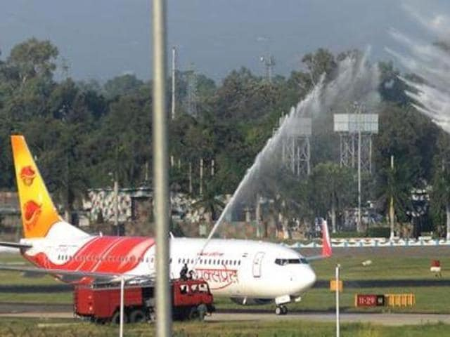 A water salute for the first flight from Sharjah at Chandigarh International Airport.