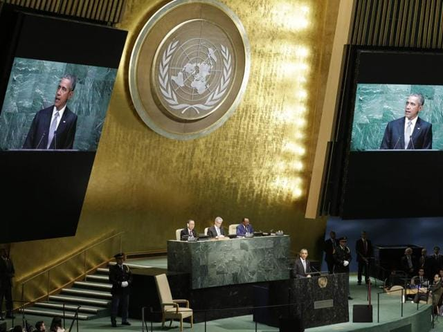 In this Monday, Sept. 28, 2015 file photo, United States President Barack Obama addresses the 70th session of the United Nations General Assembly at UN headquarters.