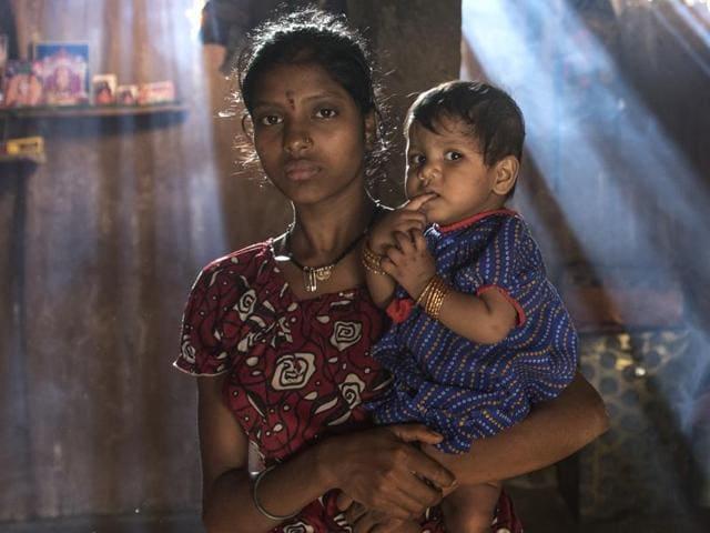 Mumbai, India - Sept. 17, 2016:Seeta Wagh mother of Sagar Wagh at her residence in Kalamwadi village, Mokhada, Palghar District, India, on Saturday, September 17, 2016. (Photo by Satish Bate/ Hindustan Times)
