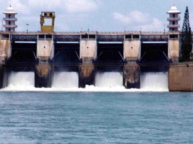 The photos shows Cauvery river water being released from the Kabini Dam at Heggadadevankote province about 165 km south-west of Bengaluru.
