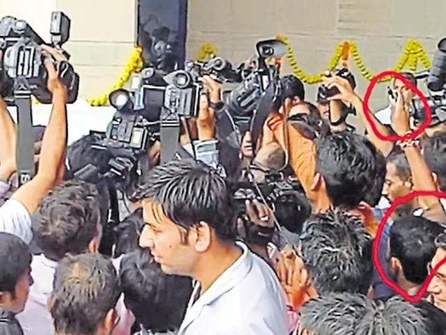 Students submitted this photo showing the attacker spraying ink at Union minister JP Nadda (not in picture).