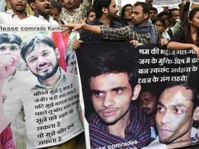 People shout slogans as they hold a demonstration to support JNU's Kanhaiya Kumar and his friends. Their arrest on charges of sedition triggered a nationwide debate on freedom of speech earlier this year.