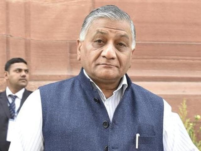 Minister of state for external affairs VK Singh at Parliament during the budget session.