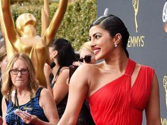 Actor Priyanka Chopra, who is gearing up for the second season of her hit American TV series Quantico, made a grand appearance at the Emmys red carpet at the 68th Primetime Emmy Awards in Los Angeles, California (US)