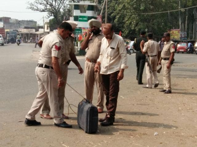 The violet-coloured briefcase was found at Simbal Chowk and was later dragged to an isolated place by the police