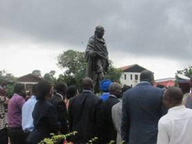 Mahatma Gandhi's statue, currently installed in the premises of the university, was gifted by President Pranab Mukherjee during his recent visit to Ghana.