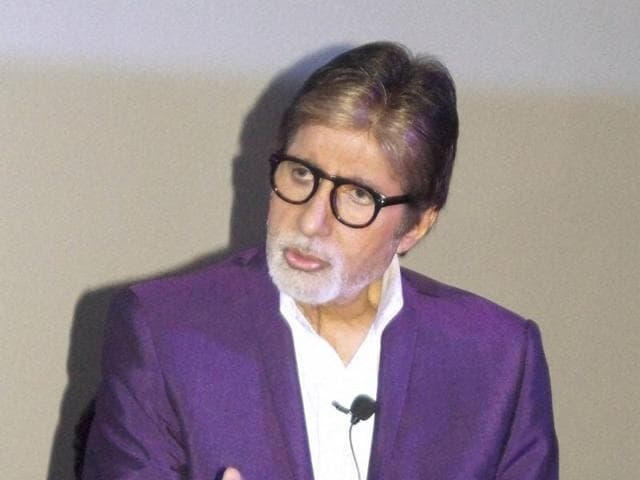 Bollywood actor Amitabh Bachchan interacts with media during promotion of Pink in New Delhi.