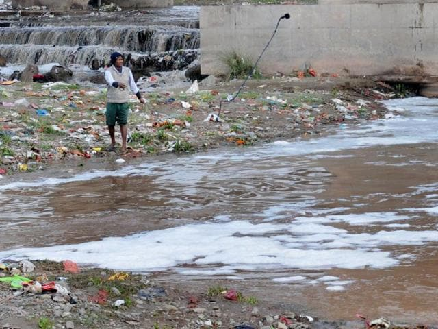 Polluted water of Ghaggar  River near Dera Bassi in Patiala district.