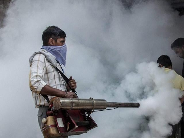 Mosquito Fogging At Construction Site Stock Photo