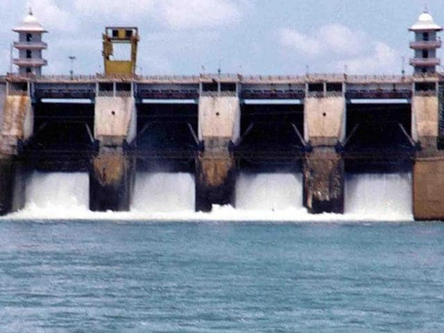 The file photo shows Cauvery river water being released from the Kabini Dam at Heggadadevankote province about 165km south-west of Bengaluru.