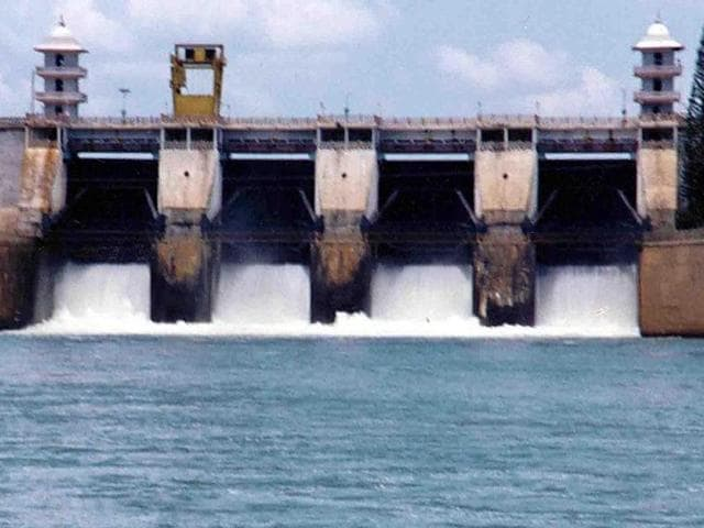 This photo shows Cauvery river water being released from the Kabini Dam at Heggadadevankote province about 165km south-west of Bangalore.