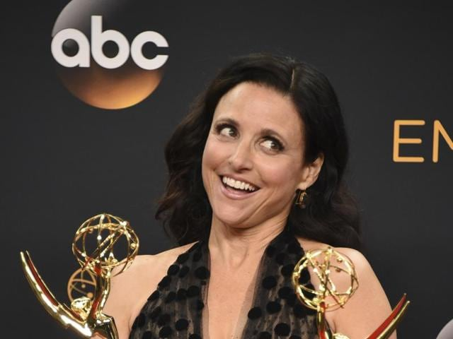 """Julia Louis-Dreyfus winner of the award for outstanding lead actress in a comedy series and best comedy series for """"Veep"""" poses in the press room at the 68th Primetime Emmy Awards."""