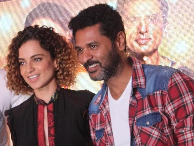 Mumbai: Actors Prabhu Deva, Kangana Ranaut and Sonu Sood during the song preview of Tutak Tutak Tutiya in Mumbai on Sept 19, 2016. (Photo: IANS)