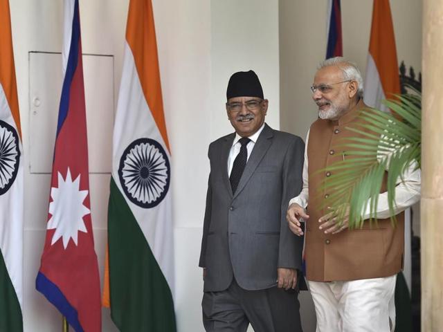 "Nepal Prime Minister Pushpa Kamal Dahal ""Prachanda"" and his Indian counterpart Narendra Modi during a ceremonial reception at the Rashtrapati Bhawan in New Delhi on September 16."