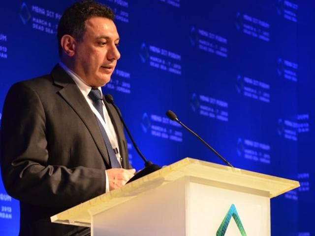 This March 6, 2013 handout file image shows Nizar Zakka, a Lebanese technology expert and advocate for Internet freedom, delivering a speech during the MENA ICT Forum conference in Jordan.