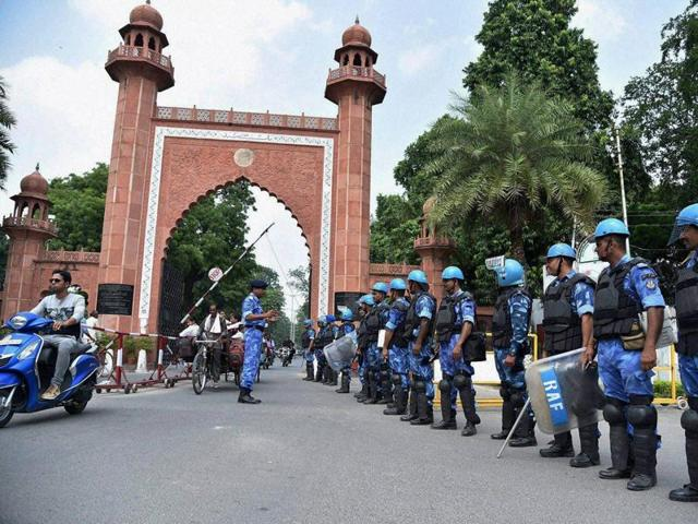 Rapid Action Force personnel deployed at Aligarh Muslim University in the view of student union elections on Monday.