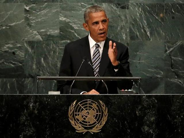 US President Barack Obama addresses the United Nations General Assembly in  New York on Tuesday.