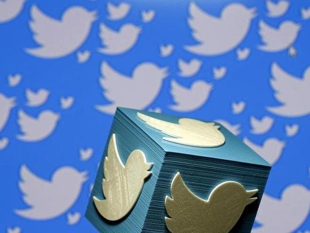 A 3D-printed logo for Twitter is seen in this picture illustration made in Zenica, Bosnia and Herzegovina on January 26.