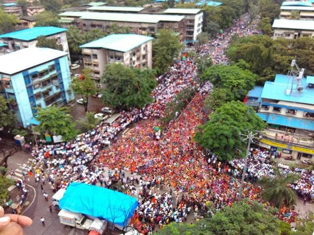 People take part in the morcha in Navi Mumbai on Wednesday.