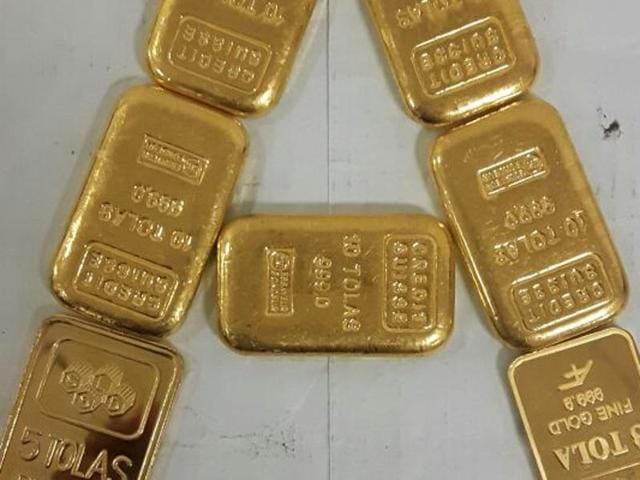 The gold bars seized by the air intelligence unit.