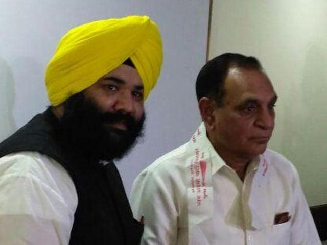 AAP leader Himmat Singh Shergill with Charanjit Singh Channi in Chandigarh on Wednesday.