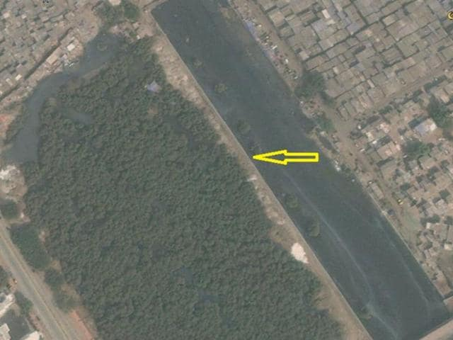 The construction wall along Mithi river that blocks access to sea water for mangroves in Mumbai.