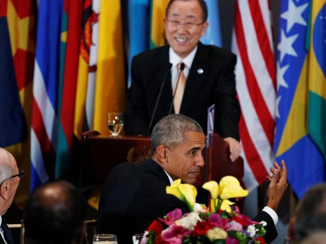 US President Barack Obama laughs as UN Secretary General Ban Ki-moon mentions playing golf after their terms are up at a luncheon during the United Nations General Assembly at United Nations headquarters in New York City on Tuesday.