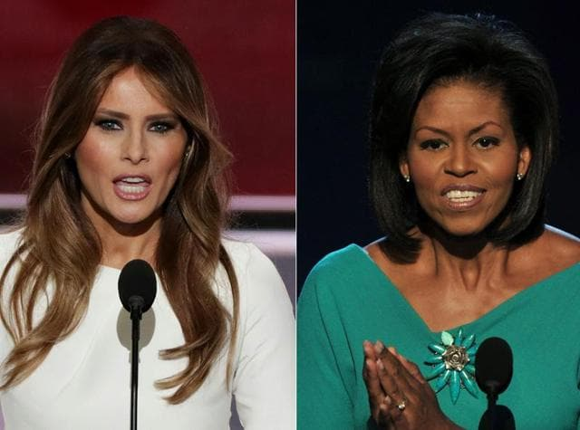Parts of Donald Trump's wife Melania's speech to a Republican National Convention were lifted verbatim from remarks Michelle Obama made in 2008.