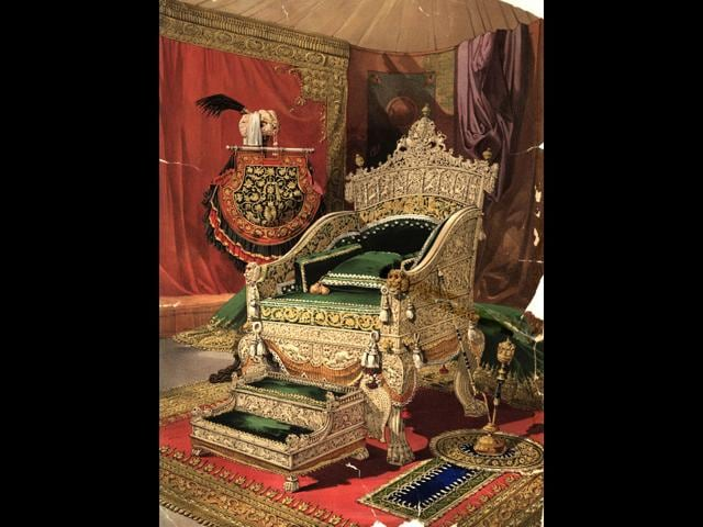 The ivory throne and footstool presented to Queen Victoria by the Maharaja of Travancore on display in the Industrial Arts of the 19th Century gallery of the 1851 Great Exhibition. An engraving by F Bedford.