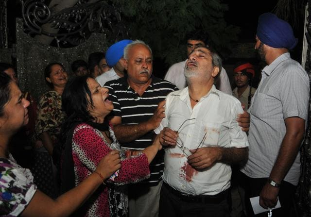 Aggrieved family members of deceased Sujata Handa at their residence in Jalandhar on Tuesday.