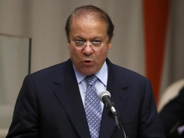 Prime Minister Nawaz Sharif of Pakistan speaks during a high-level meeting on addressing large movements of refugees and migrants at the United Nations General Assembly in Manhattan, New York, on September 19.
