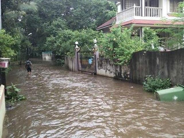 A flooded street in Vasai.