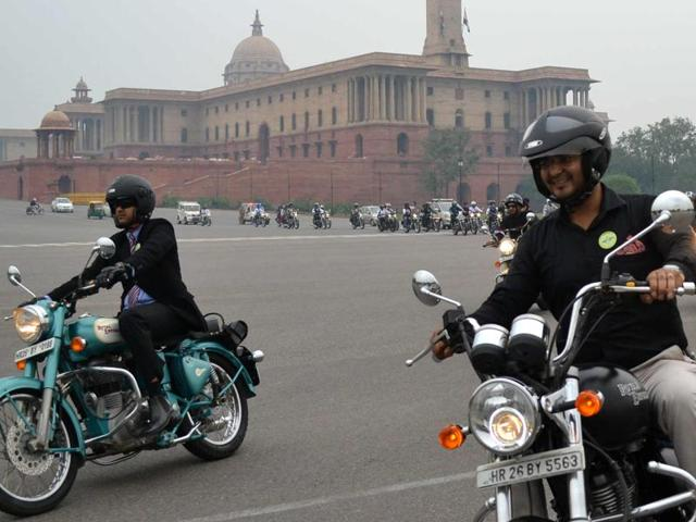 Riders participate in one of the previous editions of The Distinguished Gentleman's Ride in Delhi.