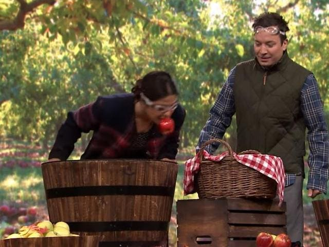 Last time Priyanka Chopra was on The Tonight Show with Jimmy Fallon, she beat him mercilessly at the 'who can eat most chicken wings' competition and this time, she crushed him at the 'bobbing for apples' contest.