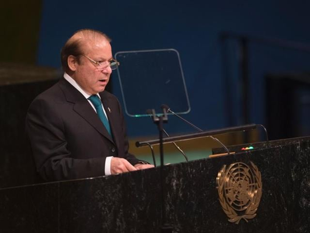 Pakistan PMNawaz Sharif addresses the United Nations General Assembly at the United Nations in New York.