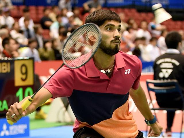 Srikanth Kidambi of India returns a shot against his compatriot Ajay Jayaram.