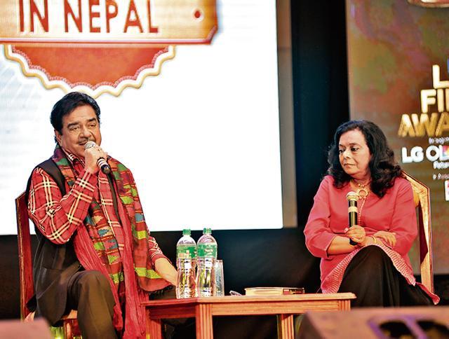 Shatrughan Sinha and Bharati S Pradhan at the LG Film Awards 2016 in Kathmandu, Nepal on September 07, 2016