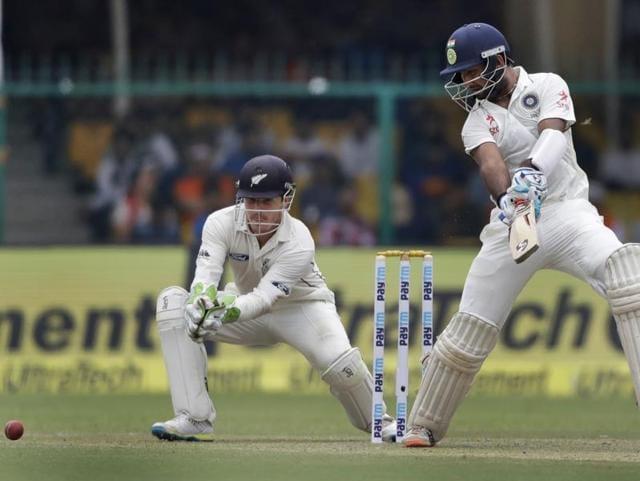 Murali Vijay, right, and Cheteshwar Pujara shared a partnership of 112 runs.