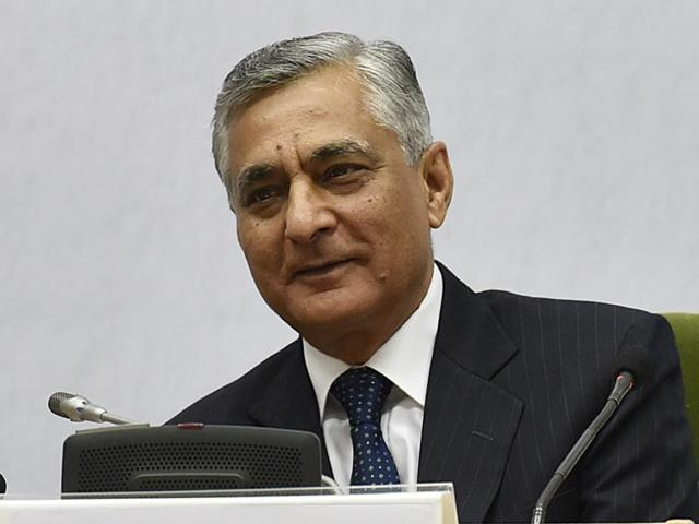 Chief Justice of India T S thakur said media's right to free speech was often coming into conflict with an individual's right to privacy, right to reputation and right to fair trial and also issues of national security.(Raj K Raj/HT File Photo)