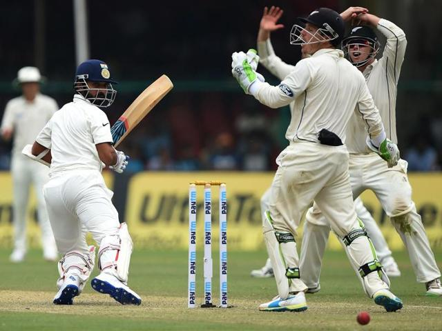 India's Murali Vijay bats during their first cricket test against New Zealand in Kanpur.