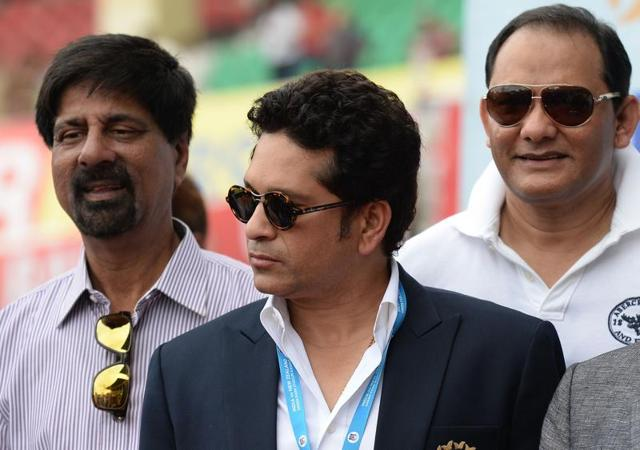 Former Indian cricket team captains K Srikkanth Sachin Tendulkar and Saurav Ganguly before being felicitated by Uttar Pradesh Governor Ram Naik and BCCI President Anurag Thakur on the occasion of India's landmark 500th Test match in Kanpur.