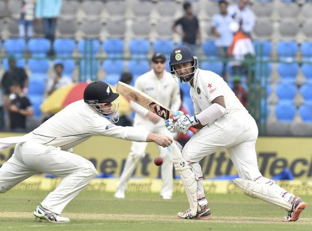Cheteshwar Pujara bats during 1st day of 1st Test match between India and New Zealand.