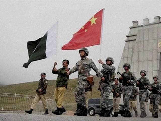 Chinese and Pakistan troops after the launch of their first joint patrolling of the border connecting PoK with Xinjiang province of China.(PTI file photo)
