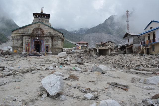 The Kedarnath Temple at Rudraprayag in Uttarakhand. A mild earthquake hit Dharkudi village in the district early Monday.(HT file photo)