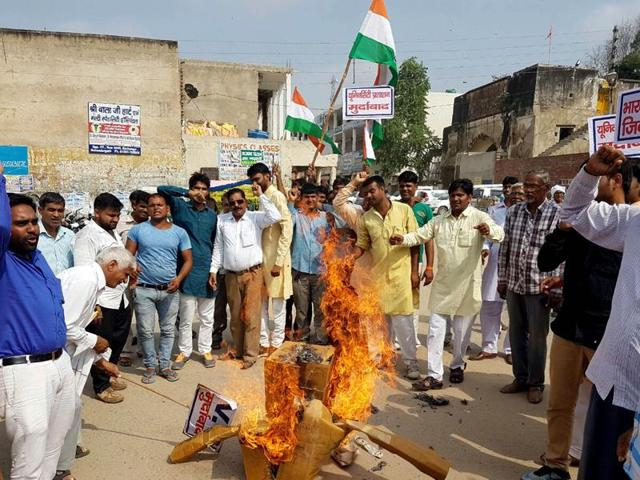 Protests against the play staged at Central University of Haryana, in Mahendragarh on Thursday.
