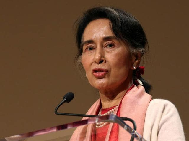 Myanmar's Minister of Foreign Affairs Aung San Suu Kyi addresses the 71st United Nations General Assembly in Manhattan, New York.